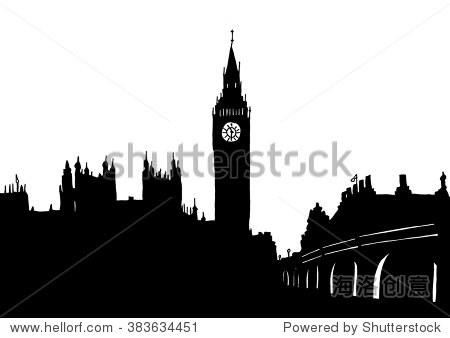 伦敦大笨钟的手绘矢量插图-建筑物/地标,公园/户外