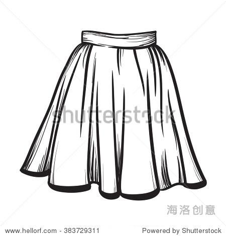 裙子手绘矢量插图黑色白线