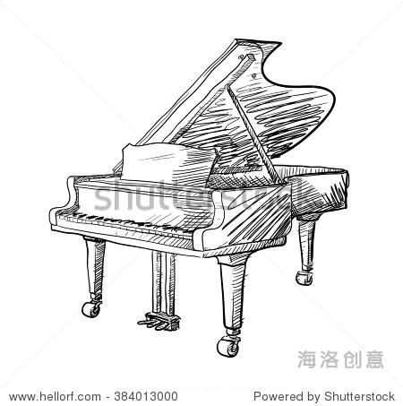 钢琴涂鸦,手绘涂鸦向量插图的三角钢琴.