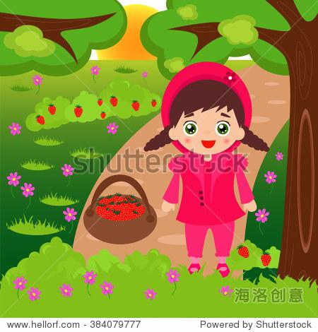 插图的卡通小女孩在森林里采摘草莓.