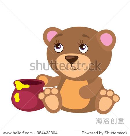 矢量图与蜜罐可爱的熊 - 动物/野生生物 - 站酷海洛