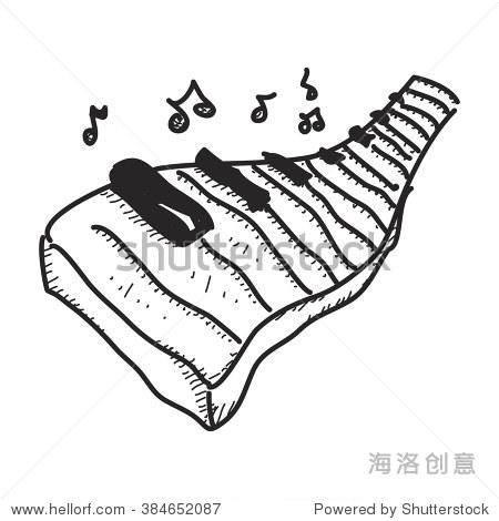 简单的钢琴键盘的手绘涂鸦