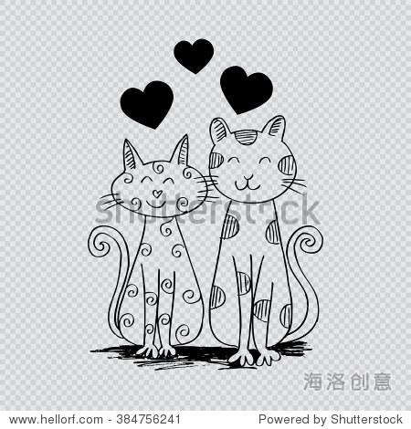 两只猫在爱.手绘插图.