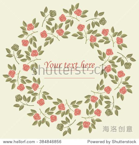 完美的圆框用色彩鲜艳的玫瑰和树叶可以用于贺卡