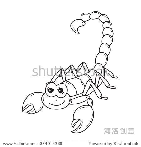 有趣的卡通蝎子在白色的背景 - 动物/野生生物 - 站酷