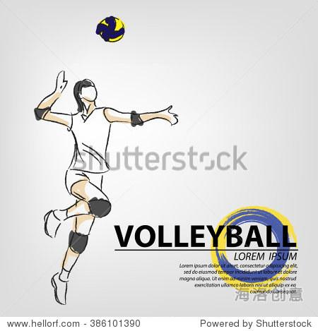 插图的排球 手绘 排球的海报 运动背景 艺术,运动 娱乐活动 海洛创