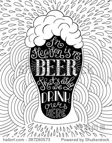 啤酒和刻字涂鸦背景 可用于海报,明信片,打印 EPS 10向量背景,