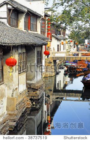 China, Shanghai water village Zhouzhuang.