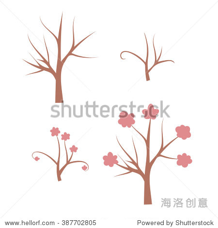 光秃秃的树,开花的树,树枝孤立在白色背景