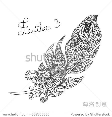 向量黑白手绘zentagle羽毛.高的着色页面细节孤立在白色背景.