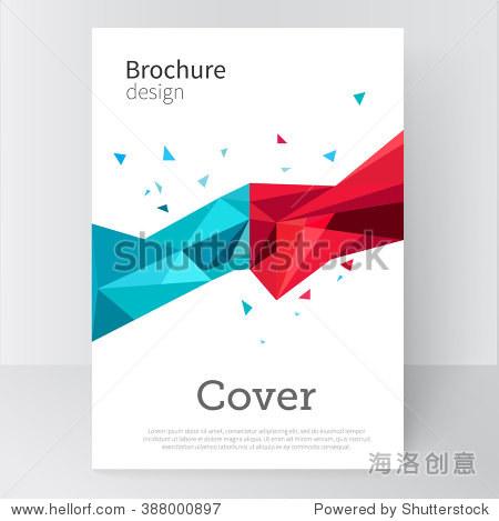 宣传册,海报,封面模板.抽象背景蓝色和红色三角形.stock-vector