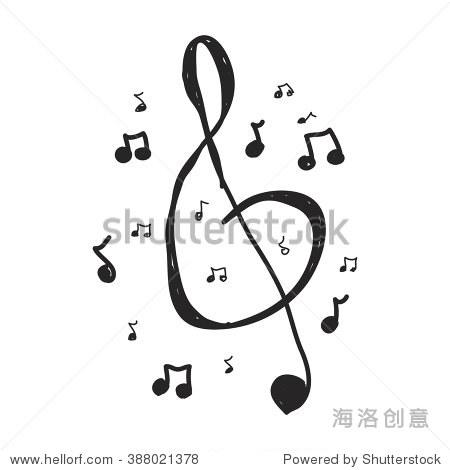 简单的手绘涂鸦的音乐符号