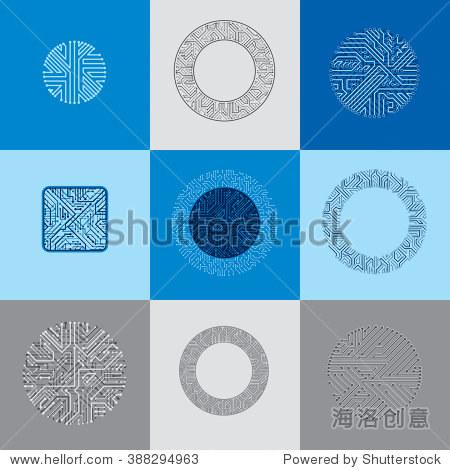 组向量文摘技术元素与色彩斑斓的电路板.高科技循环的