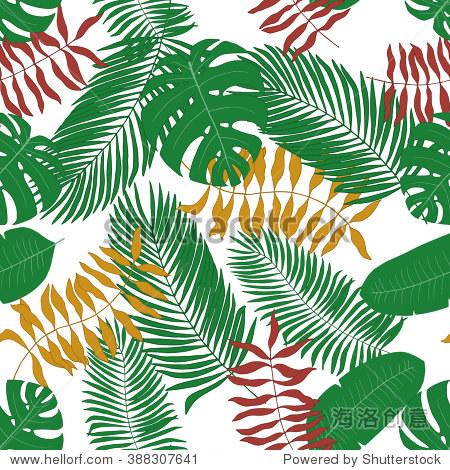 无缝模式与手绘热带树叶
