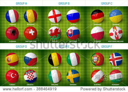 足球与国家国旗在他们孤立在绿色的足球场