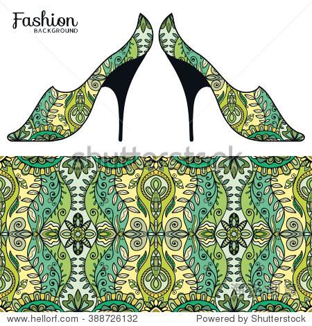 向量时装插图,女士们的鞋子和无缝织物图案重复的几何