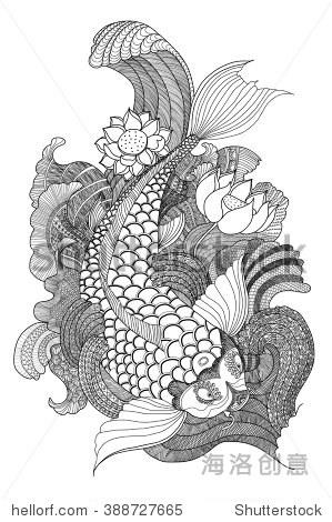 zentangle锦鲤鱼和涂鸦艺术 - 动物/野生生物,艺术