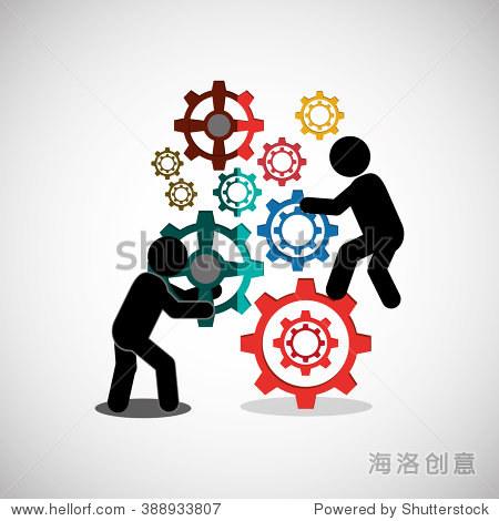 团队合作图标设计-物体,符号/标志-海洛创意正版图片