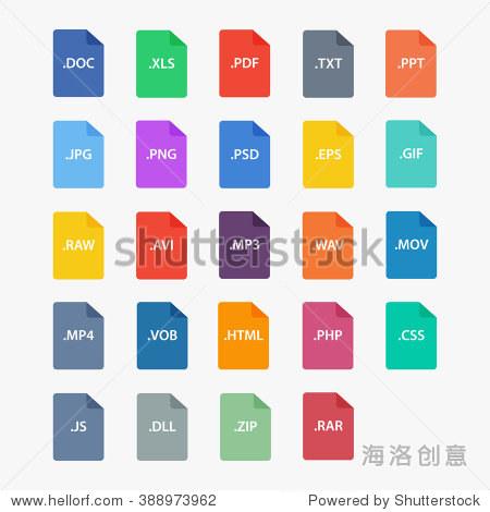 文件扩展名矢量插图.文件类型在平坦的风格.文档类型.文件类型的象征.图片