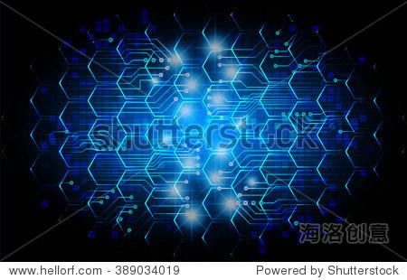 深蓝色的颜色光文摘技术背景为计算机图形网站互联网业务.电路.插图.