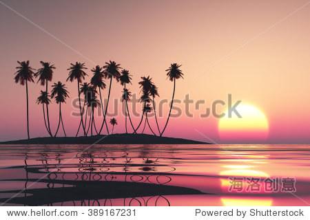 粉紅色的落日熱帶椰子島