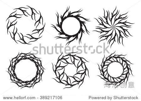 部落纹身.圆形装饰设计元素.向量曼荼罗.