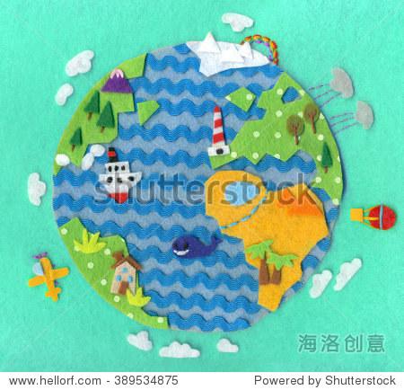 Handmade felt cute planet Earth. Colorful illustration. Greeting card. Raster illustration.