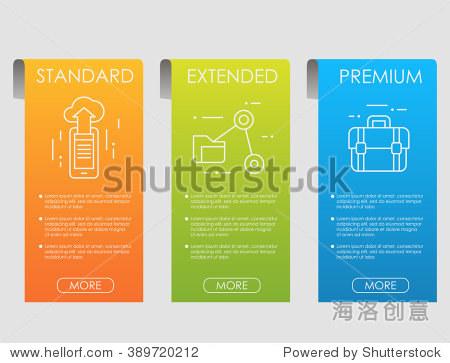 价格表,托管计划和web箱横幅设计.网站界面.ui体验为