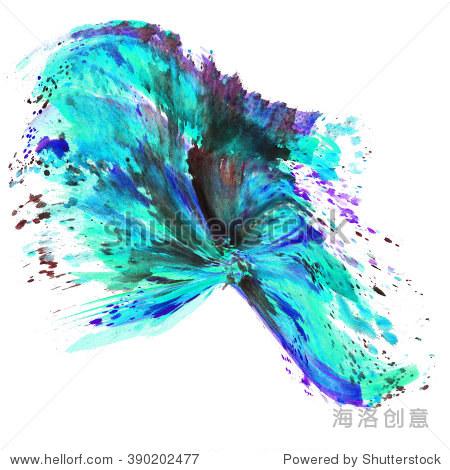 手画水彩背景.水彩洗.蓝色,蓝绿色,紫色,绿色,黑色
