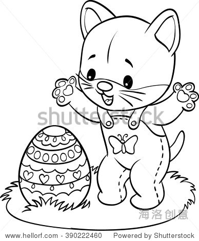 Happy Easter. Kitten found a decorated Easter Egg. Coloring book. Cartoon Vector Illustration. Isolated on transparent backgroun