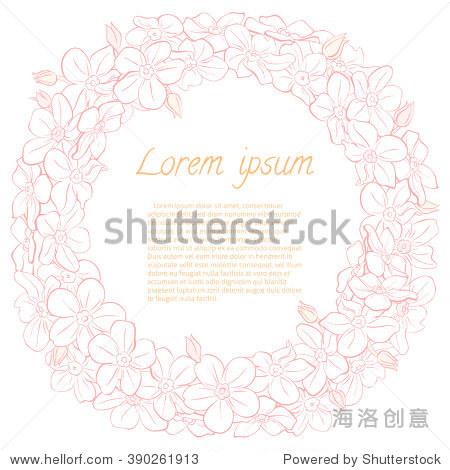 花环的手绘花朵.圆形框架请柬,保存日期婚礼卡片设计.