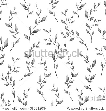 用树枝和树叶将手绘水彩模式.纺织画