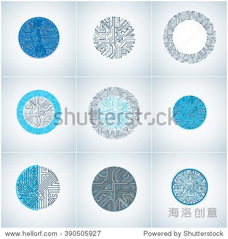 组向量文摘技术元素与圆形蓝色电路板.高科技循环数字