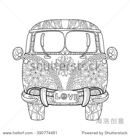 手绘涂鸦大纲复古的巴士旅行用装饰物装饰前视图.向量