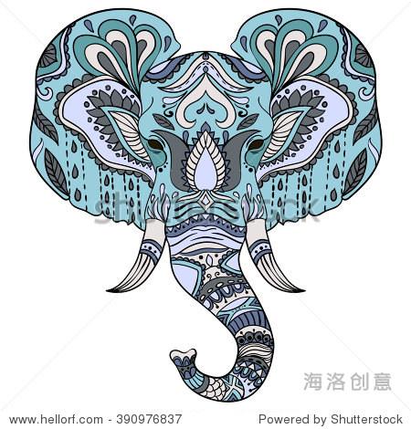 抽象的大象.华丽的孤立的插图.手绘动物画.