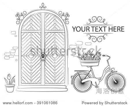 门花郁金香和自行车.手绘草图说明孤立在白色背景