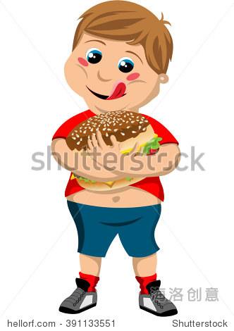 快乐可爱的胖男孩拥抱大汉堡孤立