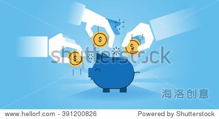 flat line design website banner of family savings