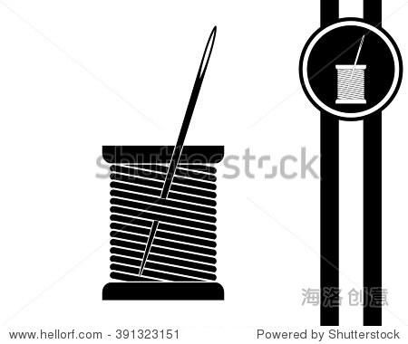 线轴和针-黑白矢量图标 - 科技,符号/标志 - 站酷海洛