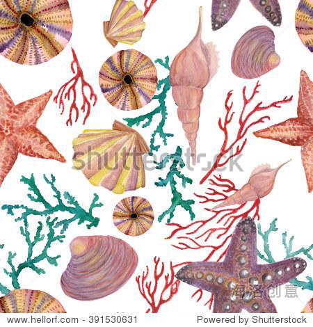 水彩画海洋模式与贝壳,海星,红色和蓝色珊瑚.无缝的背景.
