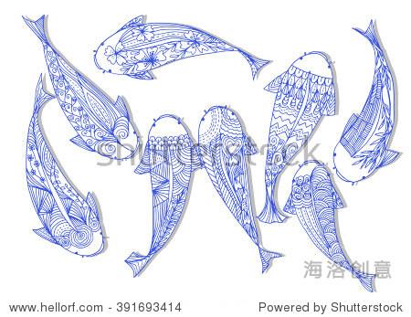 手绘锦鲤鱼(锦鲤)线艺术,日本传统风格.