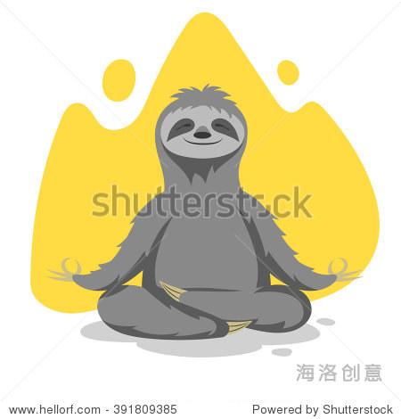 快乐可爱的树懒的矢量插图练习瑜伽练习.向量t恤或打印海报设计.图片