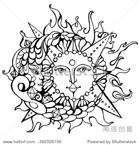 手绘向量的月亮和太阳,男性和女性,平衡,涂鸦在白纸上
