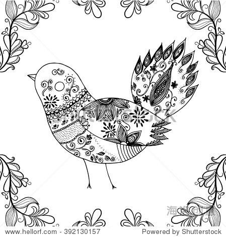 手绘涂鸦风格的鸟.婚礼模板.