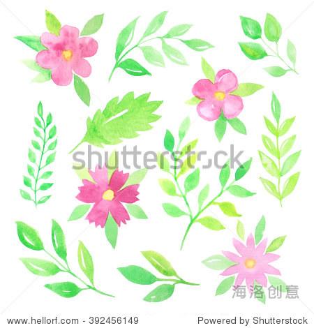 的手画水彩花卉,树叶和树枝的灵感来自春天花园植物和