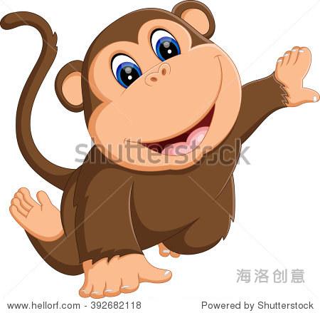 可爱的卡通插图的猴子 - 动物/野生生物 - 站酷海洛