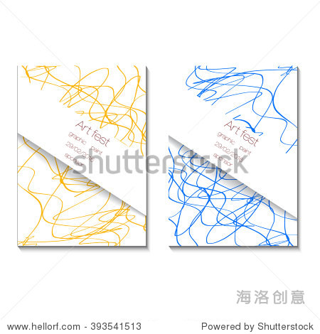 艺术节海报.表现主义手绘矢量插图.蓝色和黄色线.曝光