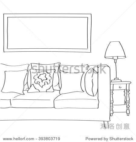 现代客厅室内手绘草图的沙发,枕头和一盏灯.