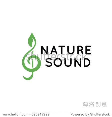 程式化的高音谱号的绿叶 矢量图标 自然,符号 标志 站酷海洛创意