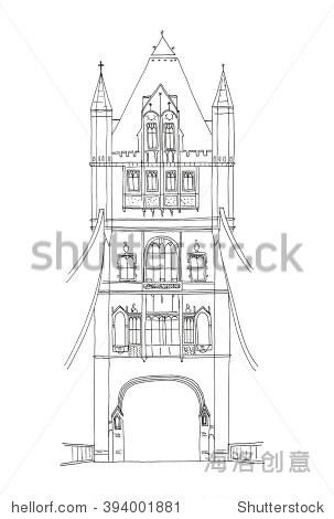 英国伦敦塔桥的手绘草图孤立